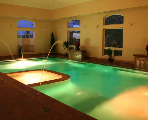 Indoor Pool/Spa with Colored Lighting Features
