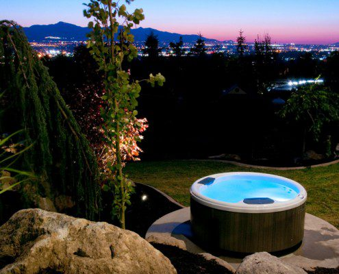Round Bullfrog Spa with a View