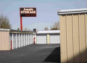 Ample's sign for cheap self storage.