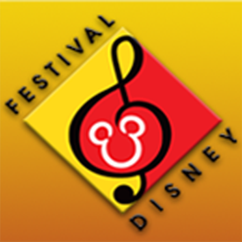red, yellow, and black festival disney logo