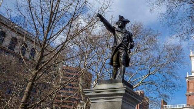 Commodore Barry statue in front of Independence Hall in Philadelphia, philadelphia educational tours