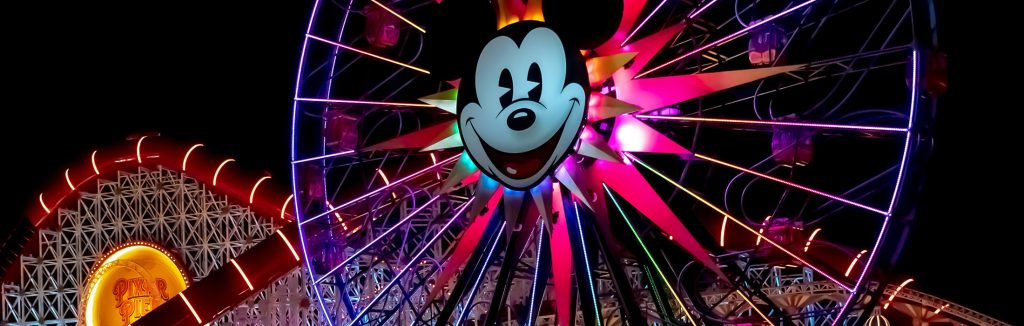 Pixar Pal-A-Round lit up at night in Disneyland California Adventure Park