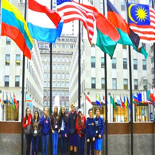 students under flags