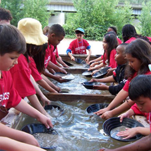 School children panning for gold on their Sacramento Educational Tours
