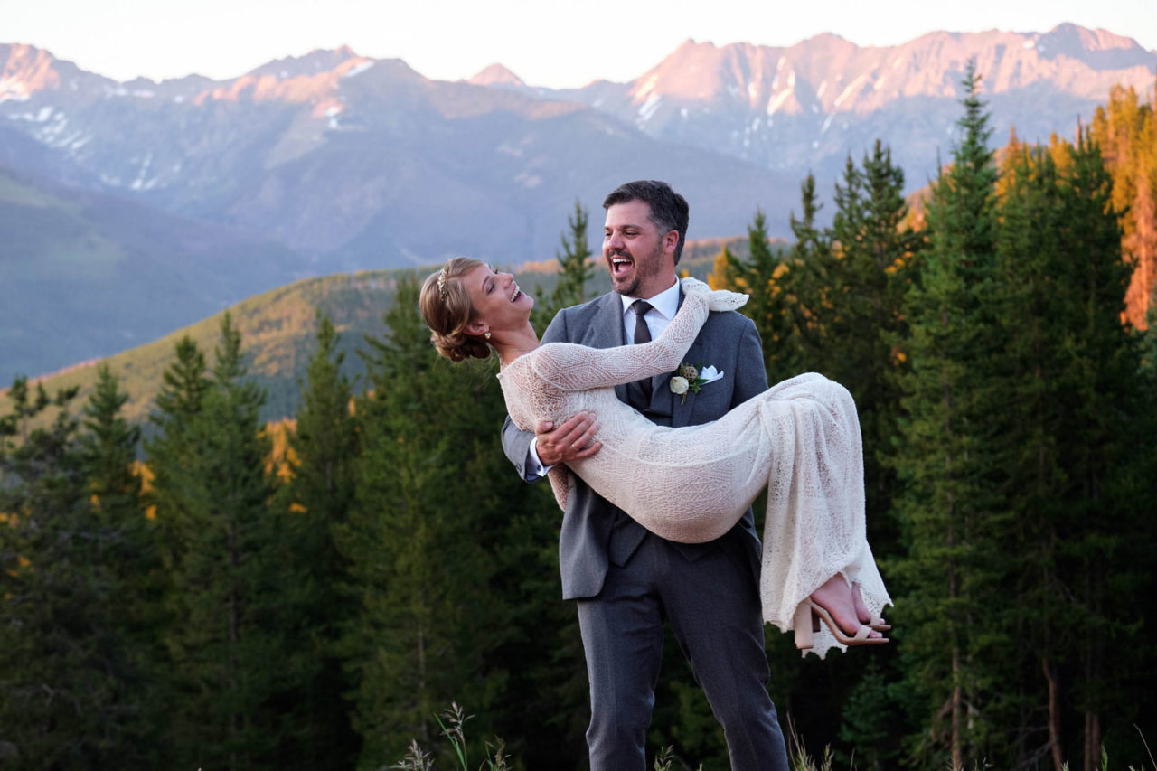 bride and groom share moment